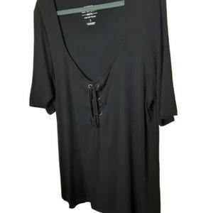 TORRID black lace up front, V neck top, 2x